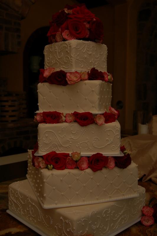 Ivory & Roses Wedding Cake